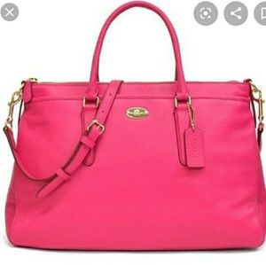 Beautiful COACH Pink Ruby XL Morgan Leather Tote